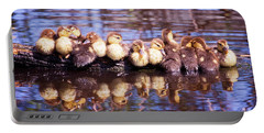 Baby Ducks On A Log Portable Battery Charger by Stephanie Hayes