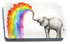 Baby Elephant Spraying Rainbow Portable Battery Charger by Olga Shvartsur