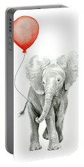 Baby Elephant Watercolor Red Balloon Portable Battery Charger