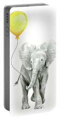 Baby Elephant Watercolor With Yellow Balloon Portable Battery Charger