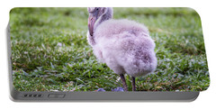 Baby Flamingo Sitting Portable Battery Charger by Stephanie Hayes