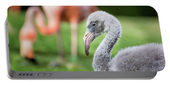 Baby Flamingo With Mom In Background Portable Battery Charger