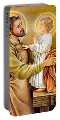 Baby Jesus Talking To Joseph Portable Battery Charger by Munir Alawi