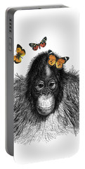 Baby Monkey With Orange Butterflies Portable Battery Charger