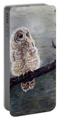 Portable Battery Charger featuring the painting Baby Owl by Judy Kirouac