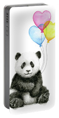 Baby Panda With Heart-shaped Balloons Portable Battery Charger