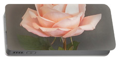 Baby Pink Rose On Gray Portable Battery Charger