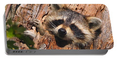 Baby Raccoon Portable Battery Charger by William Jobes