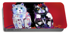 Portable Battery Charger featuring the painting Baby Wu, Baby Moo, And Snowflake Dizzycats by DC Langer