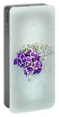 Baby's Breath And Violets Bouquet Portable Battery Charger