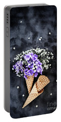 Baby's Breath And Violets Ice Cream Cones Portable Battery Charger