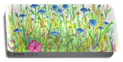 Portable Battery Charger featuring the painting Bachelor Button Meadow by Cathie Richardson