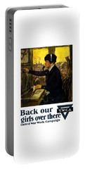 Portable Battery Charger featuring the painting Back Our Girls Over There by War Is Hell Store