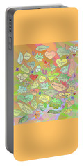 Back To The Garden Leaves, Hearts, Flowers, With Words Portable Battery Charger