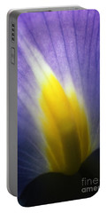 Backlit Iris Flower Petal Close Up Purple And Yellow Portable Battery Charger