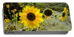 Backlit Sunflower Aka Helianthus Portable Battery Charger by Sue Smith
