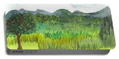Portable Battery Charger featuring the painting Backyard In Barton by Donna Walsh