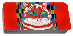 Bad Cattitude - Contemporary Cat Art Portable Battery Charger