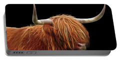 Bad Hair Day - Highland Cow - On Black Portable Battery Charger
