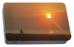 Portable Battery Charger featuring the photograph Baiting The Hook At Sunrise by Robert Banach