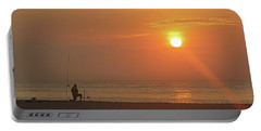 Baiting The Hook At Sunrise Portable Battery Charger by Robert Banach