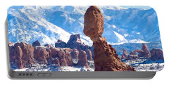 Portable Battery Charger featuring the digital art Balanced Rock  Arches National Park by Kai Saarto