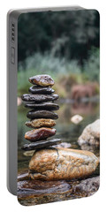 Balancing Zen Stones In Countryside River I Portable Battery Charger by Marco Oliveira