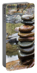 Balancing Zen Stones In Countryside River Vii Portable Battery Charger