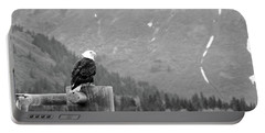 Bald Eagle Black And White Portable Battery Charger