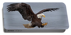 Bald Eagle Diving For Fish In Falling Snow Portable Battery Charger