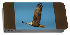 Portable Battery Charger featuring the photograph Bald Eagle Fly-by by Jeff at JSJ Photography