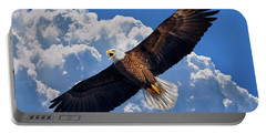 Bald Eagle In Flight Calling Out Portable Battery Charger by Justin Kelefas