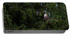Portable Battery Charger featuring the photograph Bald Eagle In The Tree by Timothy Latta