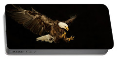 Bald Eagle On Black Portable Battery Charger