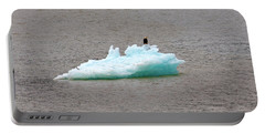 Bald Eagle On Blue Glacial Ice Portable Battery Charger