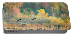Portable Battery Charger featuring the photograph Bald Eagle Pair With Fish And Foliage by Jeff at JSJ Photography