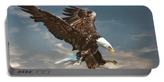 Bald Eagle Swooping Portable Battery Charger by Brian Tarr