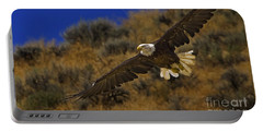 Portable Battery Charger featuring the photograph Bald Eagle Wing Spread-signed by J L Woody Wooden