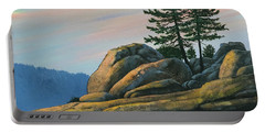 Portable Battery Charger featuring the painting Bald Rock At Sunset by Frank Wilson