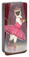 Portable Battery Charger featuring the painting Ballerina Cat - Dancing Siamese Cat by Carrie Hawks