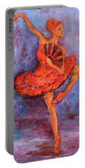 Portable Battery Charger featuring the painting Ballerina Dancing With A Fan by Xueling Zou