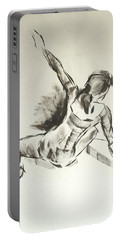 Ballet Dancer Sitting On Floor With Weight On Her Right Arm Portable Battery Charger