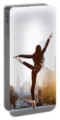 Ballet Dancer With Beautiful Philadelphia Downtown During Early Morning Portable Battery Charger
