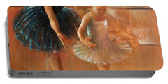 ballet lesson-painting on leather by Vali Irina Ciobanu  Portable Battery Charger