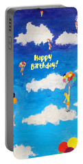 Balloon Girls Birthday Greeting Card Portable Battery Charger