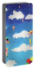 Portable Battery Charger featuring the painting Balloon Girls by Thomas Blood