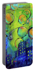 Cheerful Balloons Over City Portable Battery Charger