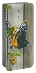 Portable Battery Charger featuring the painting Baltimore Oriole by Mike Brown