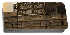 Baltimore Orioles Park At Camden Yards Sepia Portable Battery Charger