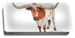Texas Longhorn Bandero Watercolor Painting By Kmcelwaine Portable Battery Charger